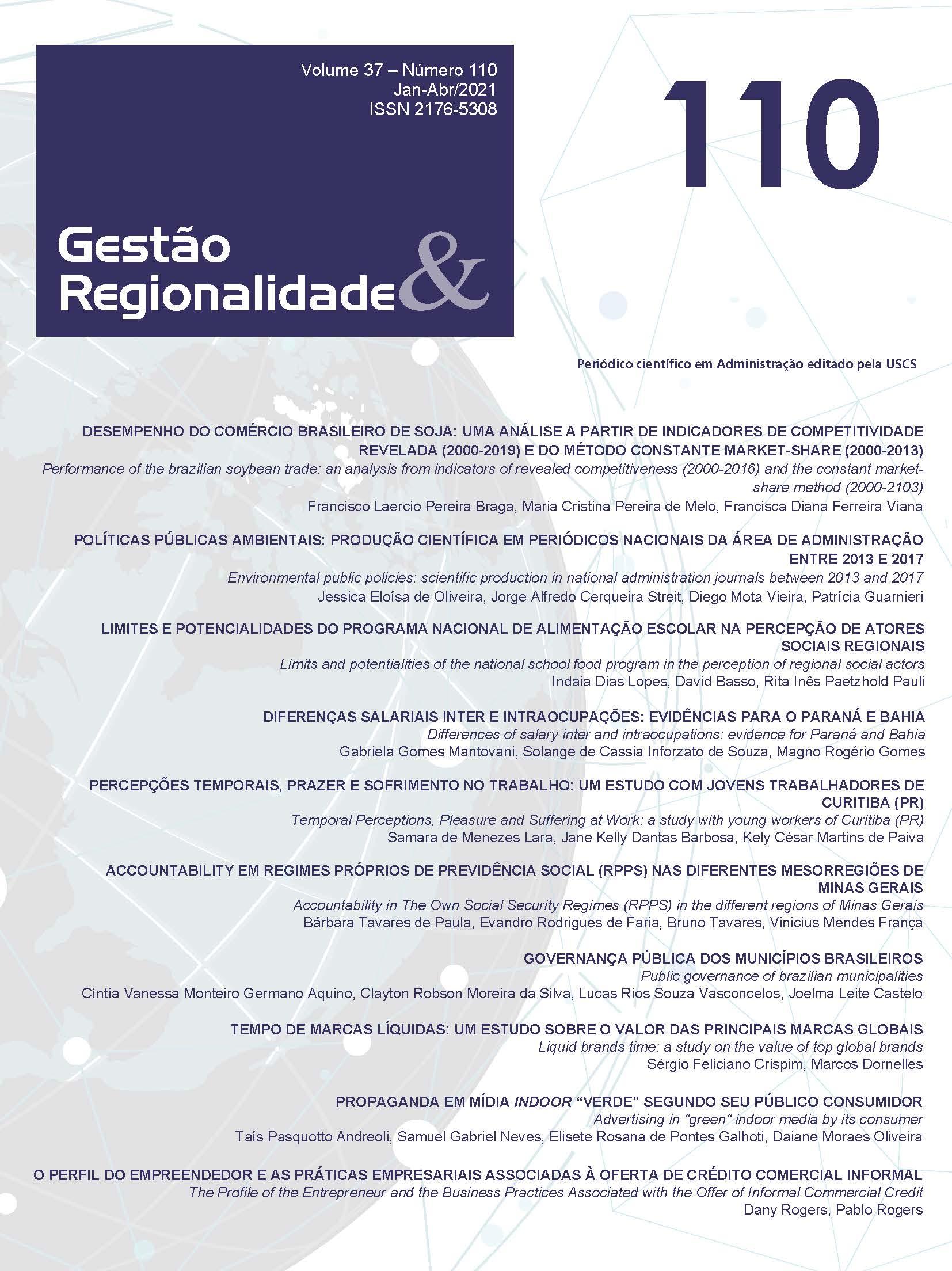 Visualizar v. 37 n. 110 (2021): GESTÃO & REGIONALIDADE